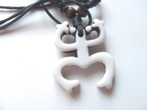 Adjustable Mariners Cord Necklace With Tribal Coqui Tree Frog Yak Bone Carved Pendant