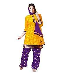 PShopee Mustard&Purple Cotton Reshim EmbroideryUnstitched Patiyala DressMaterial