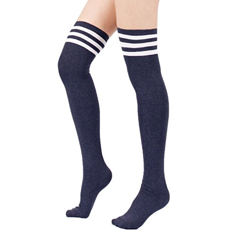 Zando Women's Cotton Triple Stripe Over the Knee Thigh High Socks Tights Navy (Light Blue Basketball Jersey compare prices)
