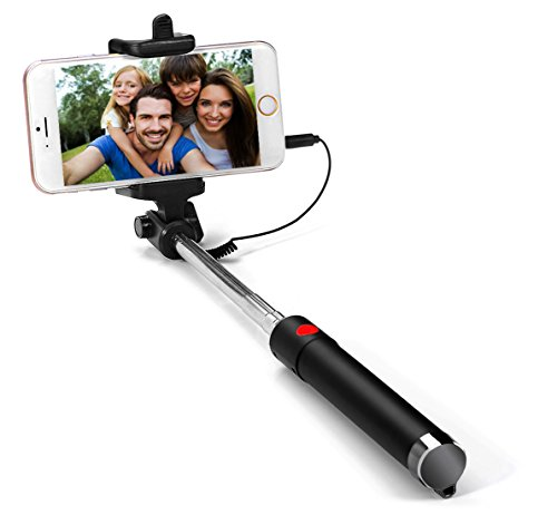 g cord selfie stick extendable monopod with wire connecting for iphone 7 7 plus 6s 6s. Black Bedroom Furniture Sets. Home Design Ideas