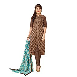 Anjali Presents Latest Brown Embroidered Dress Material with Dupatta