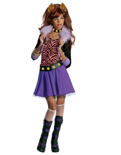 Girls Monster High Clawdeen Wolf Schoolgirl Werewolf Costume And Wig Bundle