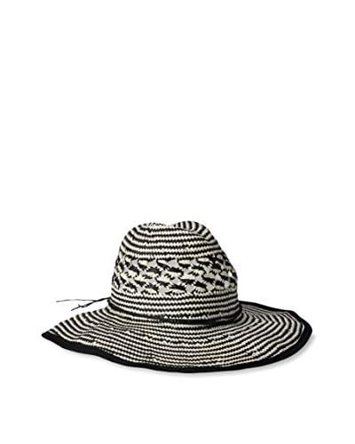 Giovannio Women's Basket Weave Americana Hat, Ivory/Black
