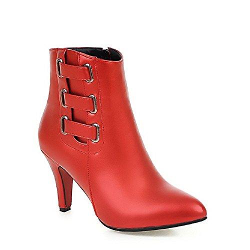 VogueZone009 Donna Cerniera Scarpe A Punta Tessuto Perla Bassa Altezza Stivali con Metallo, Rosso, 36
