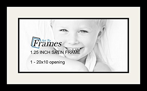 Art to Frames Double-Multimat-1460-61/89-FRBW26079 Collage Photo Frame Double Mat with 1 - 10x20 Openings and Satin Black Frame