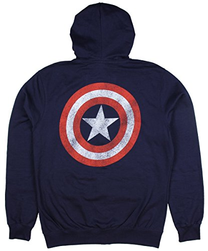 Marvel Captain America Distressed Shield Zip Hoodie (Large) (Captain America Hoodies For Men compare prices)