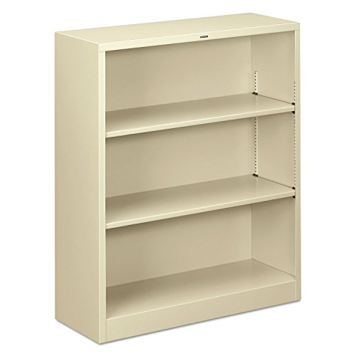 NEW - Metal Bookcase, 3 Shelves, 34-1/2w x 12-5/8d x 41h, Putty - S42ABCL New 3 Shelf Bookcase