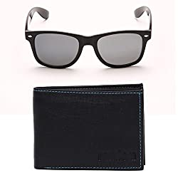 Random 26C Mens Wallet and Black Wayfarer Sunglass Combo (BlackBlue)(9C14WFWLBB)