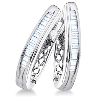 Baguette Diamond Hoop Earrings Sterling Silver (1/4 Carat)