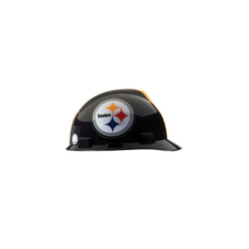 NFL Pittsburgh Steelers MSA Hard Hat, V Gard Cap, 4 Point 1 Touch Suspension   Hardhats