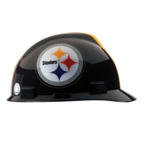 NFL Pittsburgh Steelers MSA Hard Hat, V-Gard Cap, 4 Point 1-Touch Suspension at Amazon.com