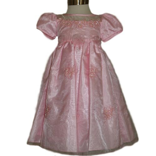 Size: 2 - Girls Fancy Dress 2 Pc Set Dress And Hairbow (Pink Size 2)