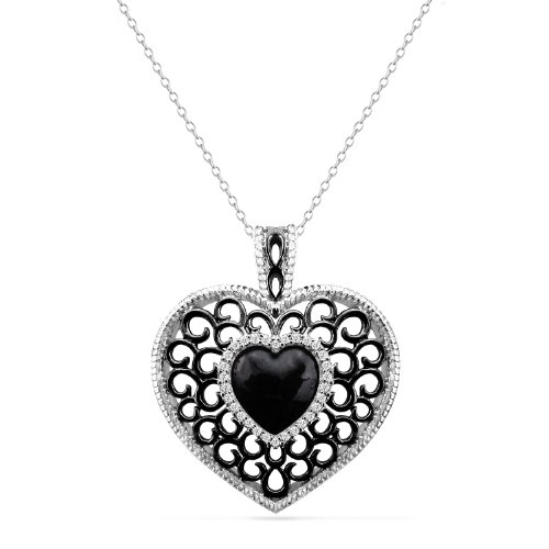 Sterling Silver Filigree Hearts with Diamonds Pendant Necklace (0.05 cttw, I-J Color, I2-I3 Clarity), 18