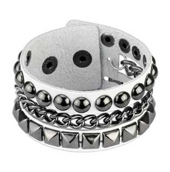White Genuine Leather Bracelet with Pyramid & Studs with Chain Links in Center and adjustable button snap closure