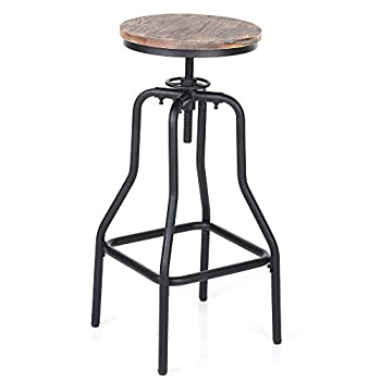 IKAYAA Adjustable Height Swivel Bar Stool Chair Kitchen Dining Breakfast Chair Natural Pinewood Industrial Style