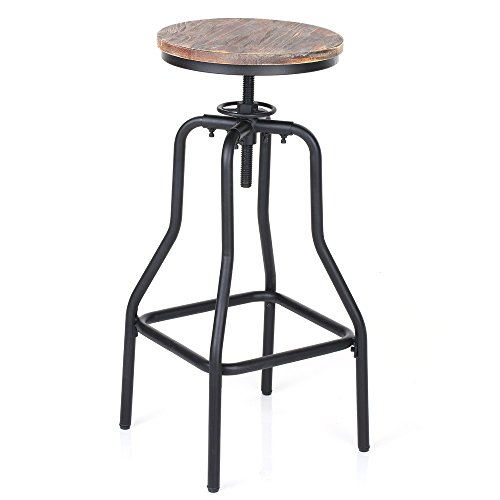 IKAYAA Adjustable Height Swivel Bar Stool Chair Kitchen Dining Breakfast Chair Natural Pinewood Industrial Style 0