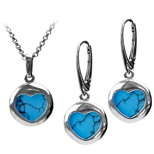 Sterling Silver Imitation Turquoise Heart Round Earrings Pendant Set Rolo Chain 18 Inches