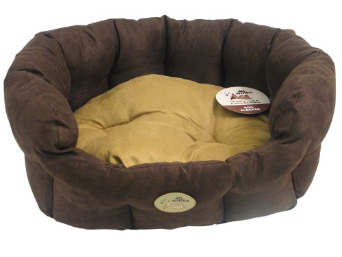40 Winks Suede Oval Dog Bed 32-inches, Cappuccino