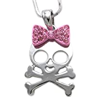 Halloween Skeleton Skull Necklace Pink Ribbon Bow Tie Pendant Charm Rhinestones Fashion Costume Jewelry