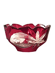 Dale Tiffany GA80586 Red Floral Decorative Crystal Bowl , 10-1/4-Inch by 5-3/4-Inch