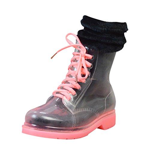 LvRao Donna Boots Caviglia Alta Trasparente Stivali Invernali Neve Pioggia Booties di Gomma Stivaletti Laccio Rosa con Calzini 37