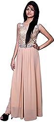 Trendz Today Women's Long Gown (GT16, Beige , X-Large)