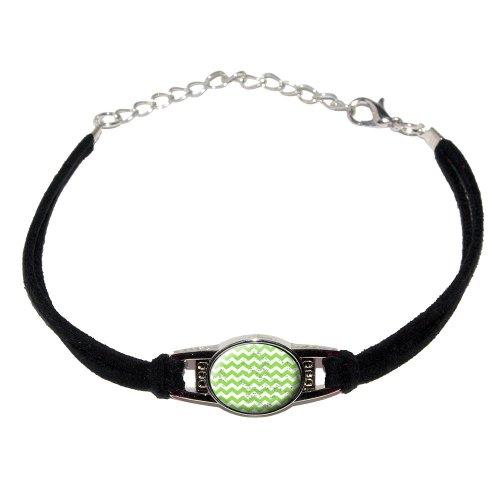 Vintage Chevrons Green - Novelty Suede Leather Metal Bracelet - Black