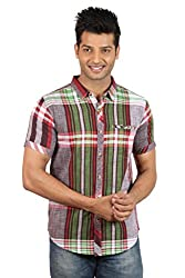 Le Tailor Men's Slim Fit Casual Checkered Shirt (SLCHS112,Red & Green)