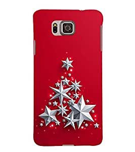 SILVER STARS IN A RED BACK GROUND 3D Hard Polycarbonate Designer Back Case Cover for Samsung Galaxy Alpha G850