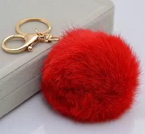 LIFECART Novelty Rabbit Fur Ball Gold Plated