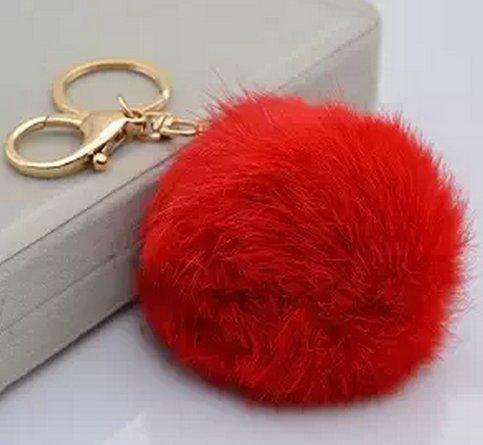 lifecart-novelty-rabbit-fur-ball-gold-plated-keyring-bag-charm-red