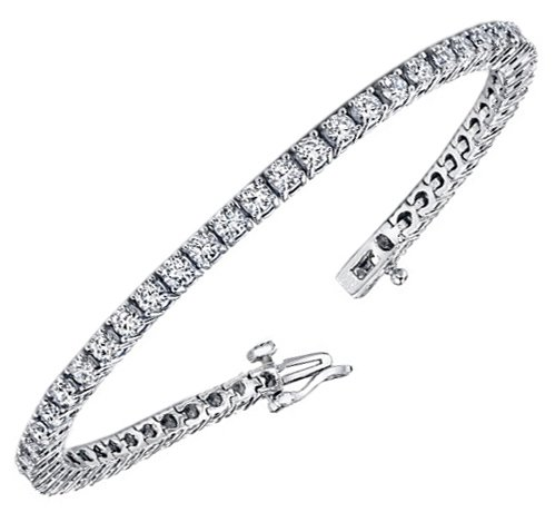 4.00 CT TW 4 Prong Round Diamond Tennis Bracelet in 14k White Gold (F-G-color/VS2-SI1-clarity)
