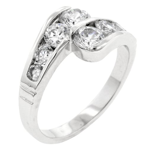Clear Cubic Zirconia CZ Journey Anniversary Ring in Silver Tone (Size 5,6,7,8,9,10)