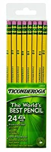 Ticonderoga No. 2 Soft Pencils, Twelve 24 Count Hang-Tab Boxes, Total 288 Pencils - (Wood-Cased, Black Writing) in Yellow (13924)