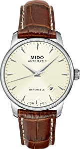 Mido Baroncelli Mens Brown leather band watch M8600.4.14.8