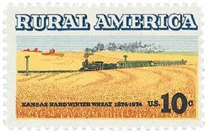 #1506 - 1974 10c Winter Wheat and Train Plate Block Postage Stamps (4)