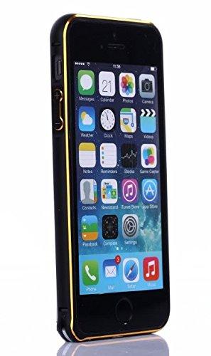 【Hunter】iPhone5/5S対応モデル オシャレなデザイン 音量ボタン・電源ボタン付属 高級感ある軽量アルミ製 メタルバンパーハードケース アルミ金属フレーム アルミ 削り出し バンパーカバー 電波干渉測定済み・ネジ不要で取付簡単(ブラック&ゴールド)