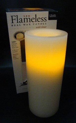 Flammenlose Echtwachskerze CREME 20 cm mit Vanilleduft