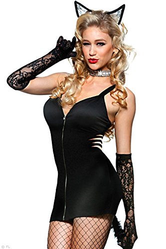 Dear-Lover Women's High Quality Microfaber Sexy Cat Costume Strech Dress VL14