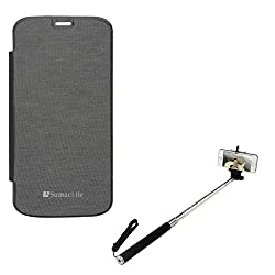 SumacLife PU Leather Flip Cover Case for Micromax Canvas Gold A300 (Black) + Selfie Stand Stick