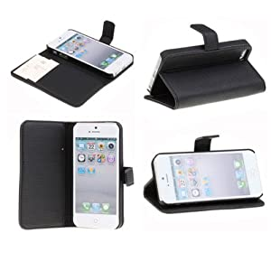 Neewer PU Leather Wallet Case Pouch Flip Stand Case Cover for Apple iPhone 5,5S (Black)