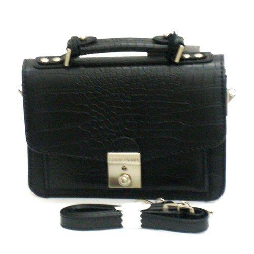 GIORGIO VALENTI[ジョルジオ・バレンチ] セカンドバッグ メンズ 紳士 艶消し クロコ型押し ブラック