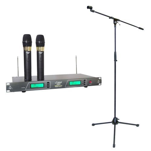 Pyle Mic And Stand Package - Pdwm2550 19'' Rack Mount Dual Vhf Wireless Rechargeable Handheld Microphone System - Pmks2 Tripod Microphone Stand W/Boom