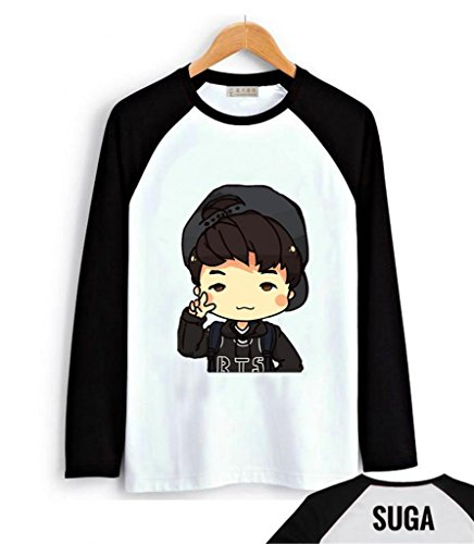 Fanstown BTS bangtan boy black shoulder member cartoon signature long sleeve shirt J-HOPE Jinmin V Rap monster (Hope Merchandise compare prices)