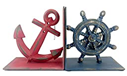 Bookends Anchor and Nautical Wheel Metal Blue, Red