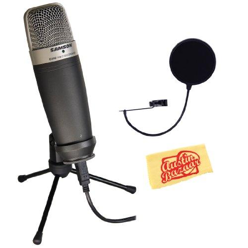 Samson C01U Usb Studio Condenser Microphone Bundle With Pop Filter And Polishing Cloth - Black