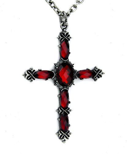 Red Stone Vampire Cross Necklace