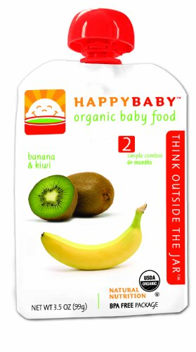 HAPPYBABY Organic Baby Food, Stage 2, Banana & Kiwi, 3.5 Ounce Pouch (Pack of 16)
