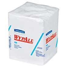 "Kimberly-Clark Wypall X60 Hydroknit 1/4 Fold Hygienic Washcloth, 12-1/2"" Length x 10"" Width, White (8 Packs of 70)"