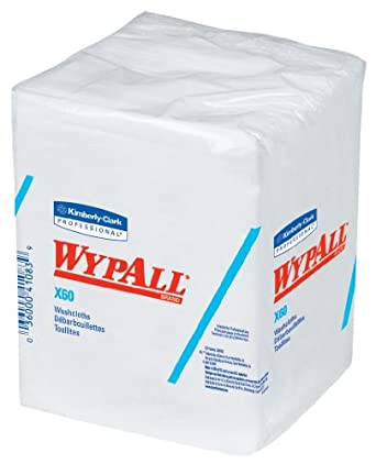 Kimberly-Clark WypAll 41083 X60 Hygienic Washcloth, 1/4 Fold, White (8 Packs of 70)